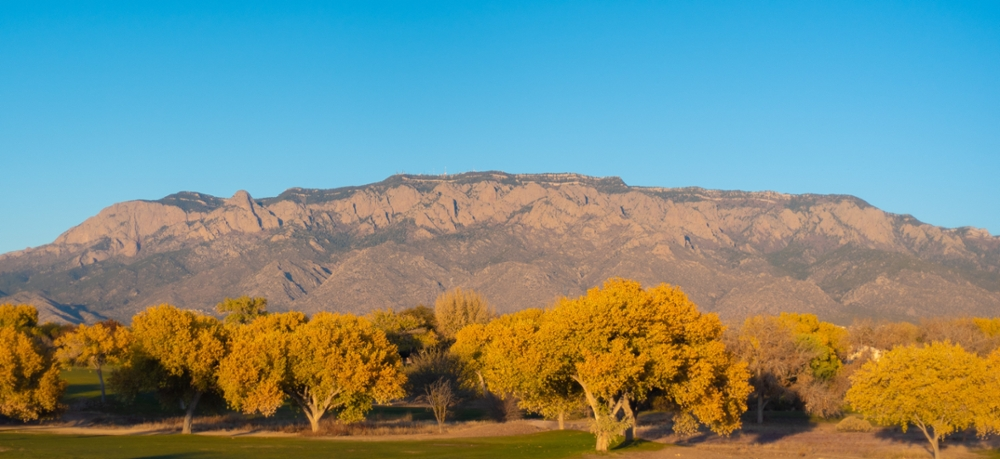 The Sandia Mountains in evening autumn glow